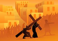 This image has an empty alt attribute; its file name is biblical-vector-illustration-series-way-cross-stations-cross-fifth-station-simon-cyrene-helps-jesus-carry-his-143372742-1.jpg